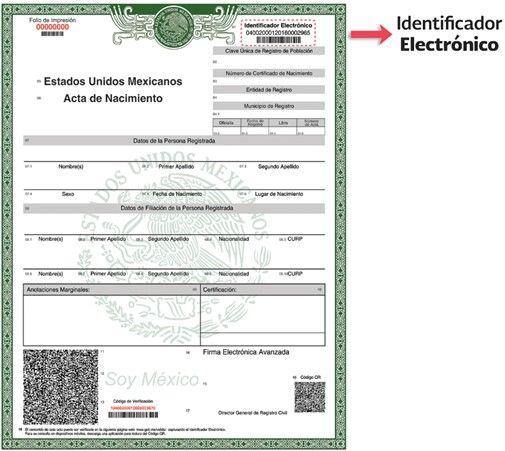 Acta de nacimiento identificador actasmx