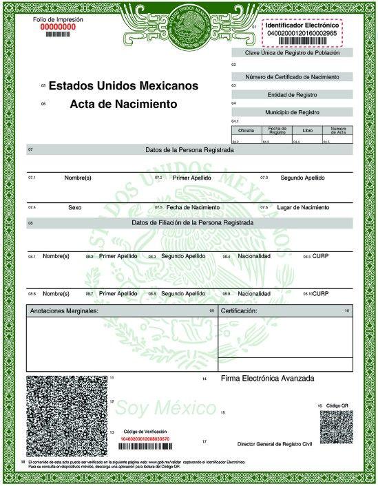 copia acta de nacimiento certificada